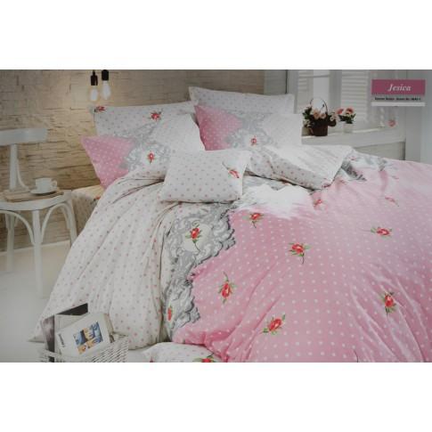 Lenjerie de pat, 2 persoane, Jesica, bumbac 100%, 4 piese, roz