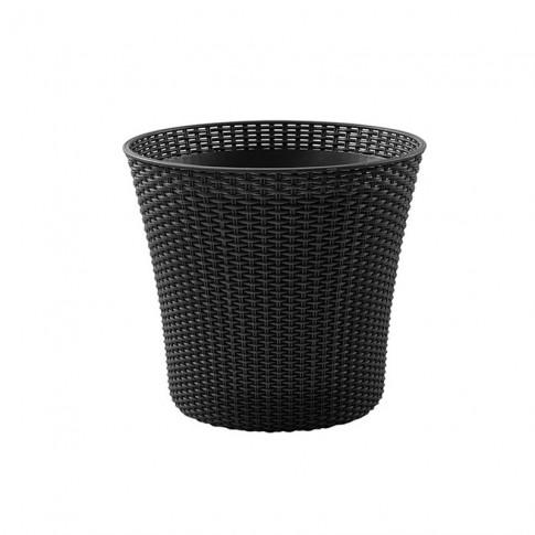 Ghiveci din plastic cu finisaj ratan sintetic Curver, gri D 54 cm