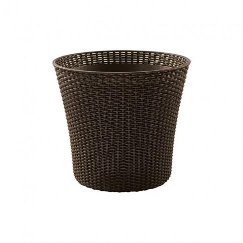 Ghiveci din plastic cu finisaj ratan sintetic Curver, maro inchis D 54 cm