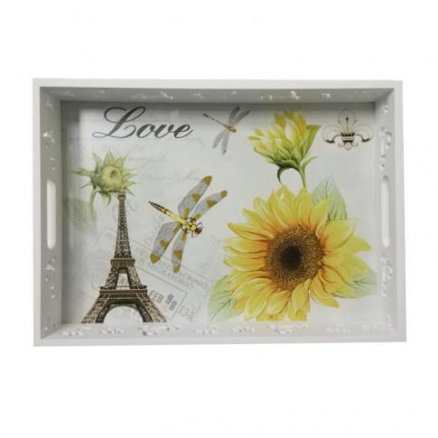 Tava dreptunghiulara decorativa, MDF,  3001, multicolora, 35 x 25 x 5.5 cm