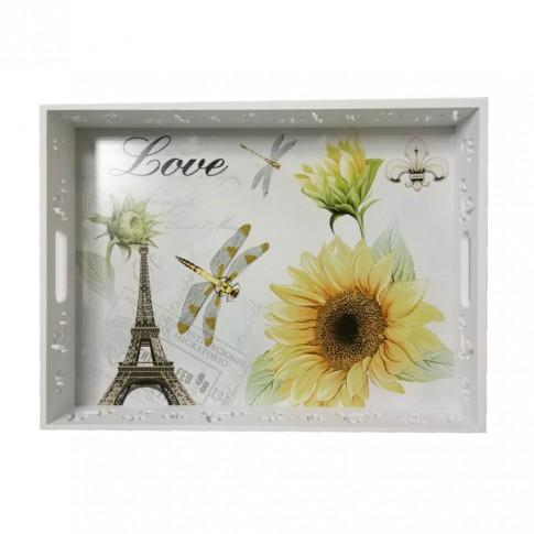 Tava dreptunghiulara decorativa, din MDF, 3001, multicolora, 40 x 30 x 5.5 cm