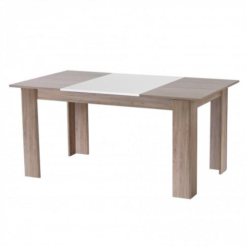 Masa bucatarie fixa Amos TS, dreptunghiulara, 6 persoane, stejar gri + alb 160 x 90 x 75.5 cm 2C