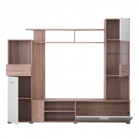 Biblioteca living Lido, sonoma + alb, 200 cm, 2C