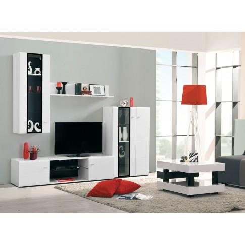 Biblioteca living Rex, alb + alb lucios + negru, 250.5 cm, 3C
