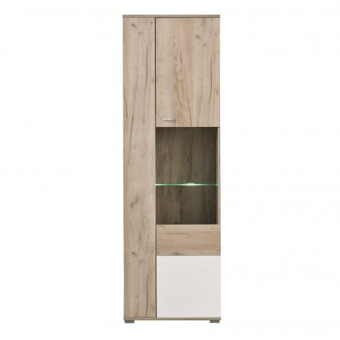 Vitrina living cu usa sticla Amos VV, stejar gri + alb lucios, 60 x 35 x 190 cm, 2C