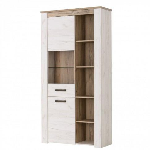 Biblioteca living Kent, stejar alb + stejar gri, 319.5 cm, 7C