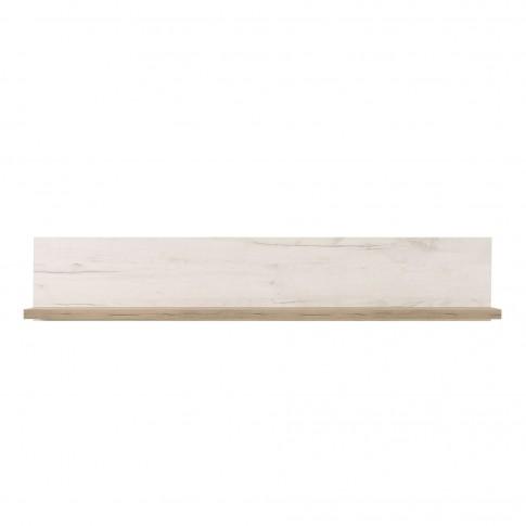 Etajera PAL, perete, Kent ZP, stejar alb + stejar gri, 120 x 19.5 x 22 cm, 1C