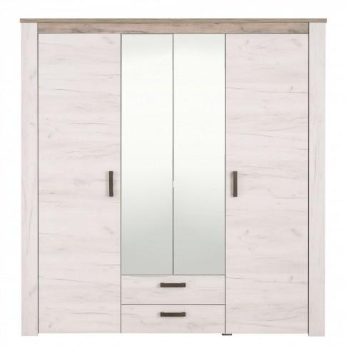 Dulap dormitor Kent 4K2F2O, stejar alb + stejar gri, 4 usi, cu oglinda, 198.5 x 55.5 x 206.5 cm, 5C