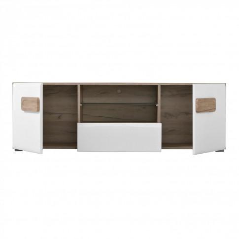 Biblioteca living Bert, stejar gri + alb lucios, 310 cm, 7C