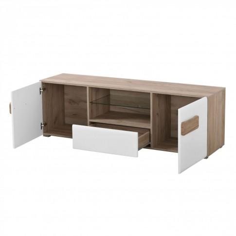 Comoda TV cu sertar Bert 160, stejar gri + folie lucioasa alba, 160 x 41.5 x 52 cm, 1C