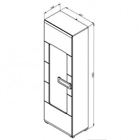 Vitrina living cu usa sticla Bert 1K VS, stejar gri + folie lucioasa alba, 60 x 35 x 190 cm, 2C
