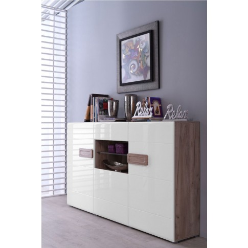 Comoda cu sertar Bert 180, stejar gri + folie lucioasa alba, 180 x 41.5 x 96.5 cm, 2C