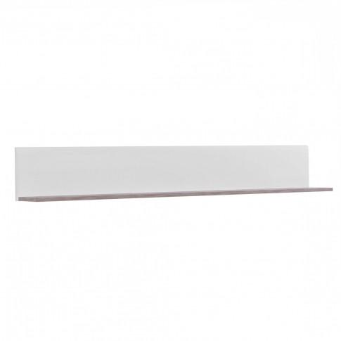 Etajera PAL, perete, Bert ZP 120, stejar gri + folie lucioasa alba, 120 x 19.5 x 22 cm, 1C