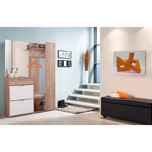 Cuier hol Skala cu 4 agatatori, oglinda, pantofar si rafturi, stejar auriu + alb, 1345 x 330 x 1915 mm, 3C