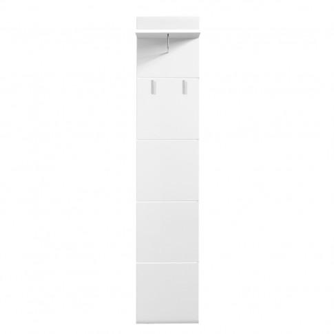 Cuier hol pentru perete Beny CIV 390 cu 3 agatatori si polita, alb lucios, 390 x 255 x 1900 mm, 2C