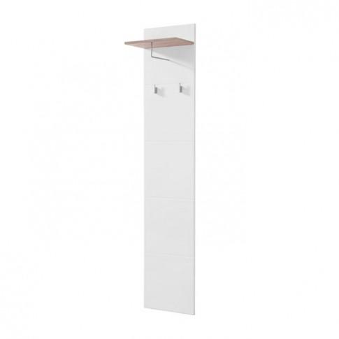 Cuier hol pentru perete Beny CIV 390 cu 3 agatatori si polita, stejar gri + folie lucioasa alba, 390 x 255 x 1900 mm, 1C