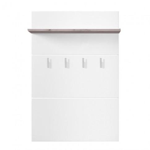 Cuier hol pentru perete Beny CIV 760 cu 4 agatatori si polita, stejar gri + folie lucioasa alba, 760 x 196 x 1140 mm, 1C