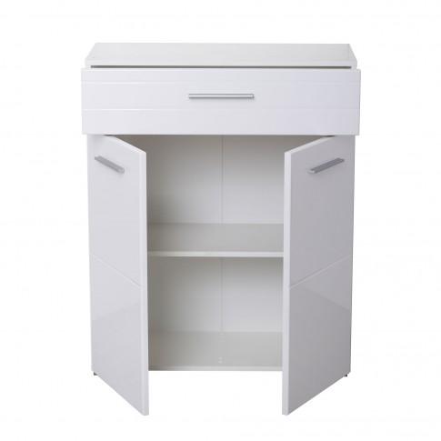 Comoda hol pentru cuier Beny 2K1F, cu 2 usi + sertar, alb + alb lucios, 79 x 35 x 97.5 cm, 2C