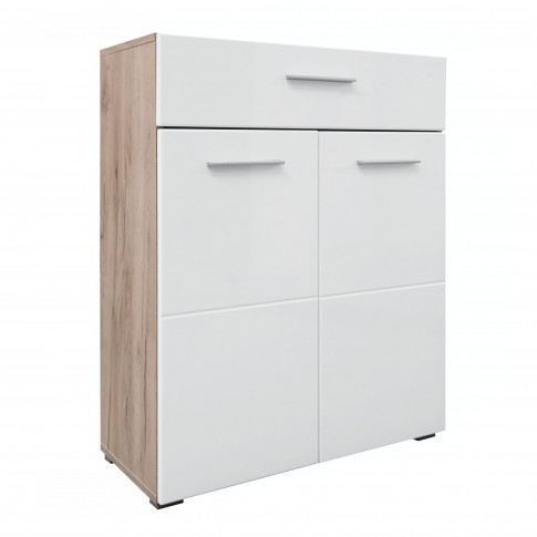 Comoda hol pentru cuier Beny 2K1F, cu 2 usi + sertar, stejar gri + folie lucioasa alba, 79 x 35 x 97.5 cm, 2C