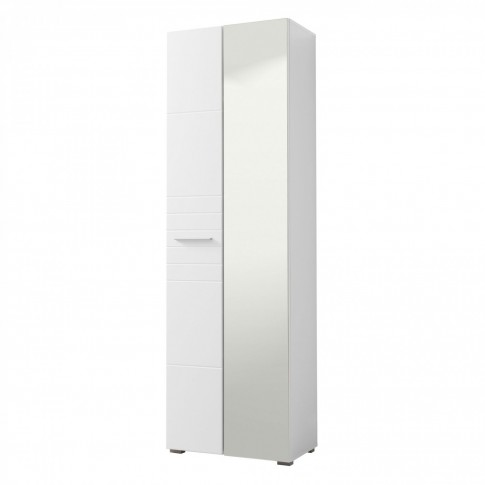 Dulap hol Beny 2K cu o agatatoare, oglinda si rafturi, alb + alb lucios, 2 usi, 600 x 355 x 1925 mm, 2C
