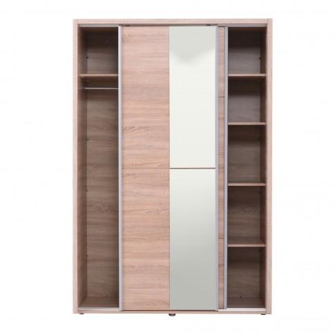 Dulap dormitor Logan 135, sonoma, 2 usi glisante, cu oglinda, 137.5 x 61 x 206 cm, 3C