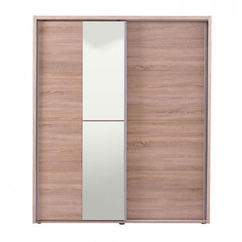 Dulap dormitor Logan 180, stejar sonoma, 2 usi glisante, cu oglinda, 184 x 61 x 206 cm, 3C