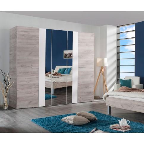 Dulap dormitor Dante 5K3O, stejar gri + alb, 5 usi, cu oglinda, 223.5 x 55.5 x 206 cm, 5C