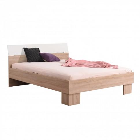 Pat dormitor Bon 160, matrimonial, stejar sonoma + alb, 160 x 200 cm, 3C