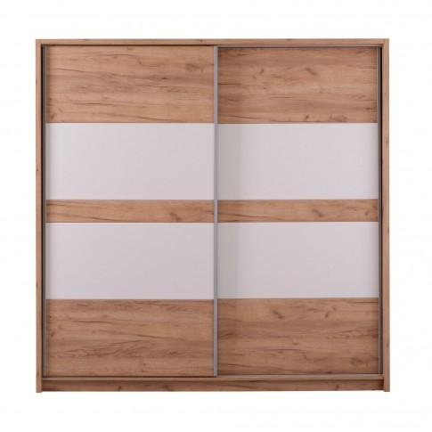 Dulap dormitor Pictor, stejar auriu + alb, 2 usi glisante, 226.5 x 67 x 227 cm, 5C