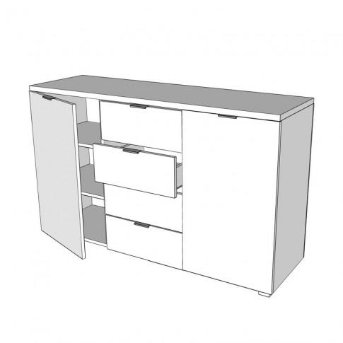 Comoda Universal 3K4F cu 4 sertare, stejar gri, 133.5 x 81.5 x 40 cm, 3C