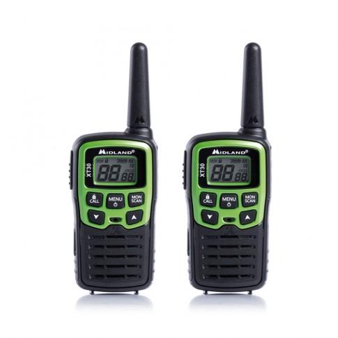 Statie radio emisie / receptie PMR portabila Midland XT30, set 2 bucati, acumulator, blocare tastatura, Roger Beep, tonuri apelare (Call), scanare canale, economizor automat de energie