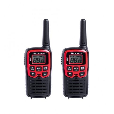 Statie radio emisie / receptie PMR portabila Midland XT10, set 2 bucati, functie VOX, Roger Beep, tonuri apelare (Call), scanare canale, economizor automat de energie, monitorizare canale