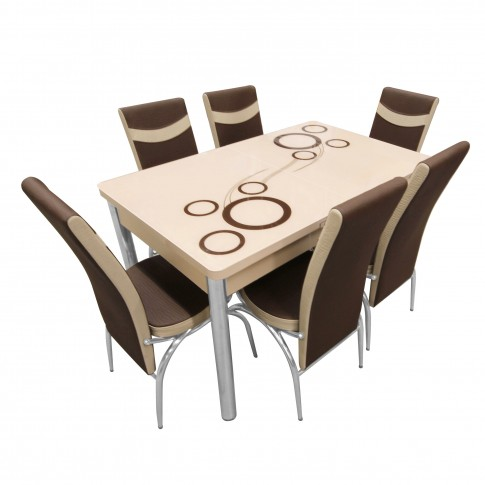 Set masa extensibila cu 6 scaune tapitate Olimpia, bucatarie, bej + maro, 3C