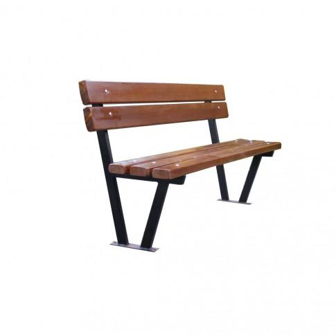 Banca pentru parc, cu spatar, metal + lemn, natur, 170 x 50 x 80 cm, BT.08