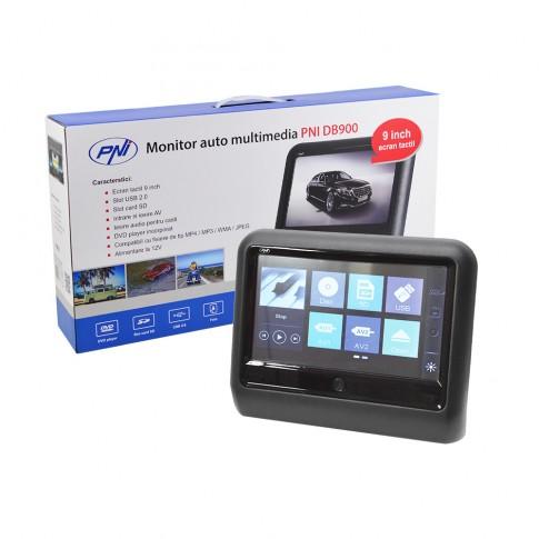 Monitor auto multimedia PNI DB900, ecran LCD de 9 inch, touchscreen, DVD player, slot card SD, USB, radio FM, aplicabil pe tetiera, 24.3 x 20.5 x 4.9 cm