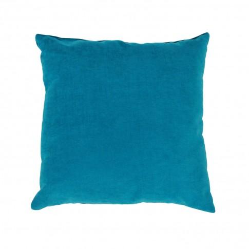 Perna decor Hazan 84, turcoaz, poliester + fibra poliester siliconizata, 43 x 43 cm
