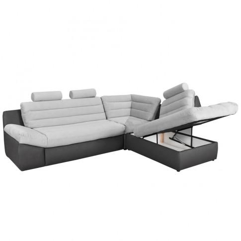 Coltar living extensibil pe stanga Wog, cu lada, negru + gri, 270 x 225 x 100 cm, 3C