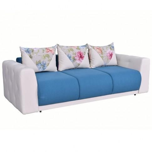 Canapea extensibila 3 locuri Bambus, cu lada, crem + albastru, 236 x 106 x 87 cm, 4C