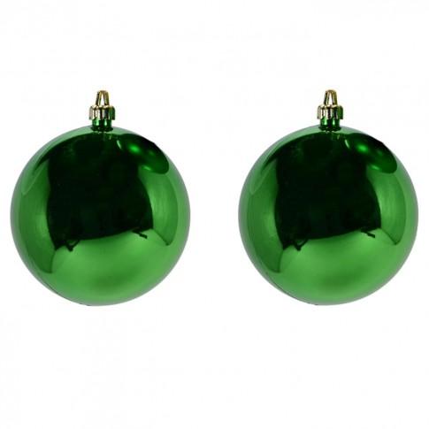 Globuri Craciun, verde, D 10 cm, set 2 bucati, Metalizat