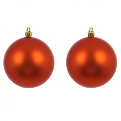 Globuri Craciun, portocaliu, D 10 cm, set 2 bucati, Metalizat