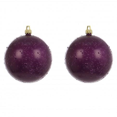 Globuri Craciun, violet, D 12 cm, set 2 bucati, Rugiada