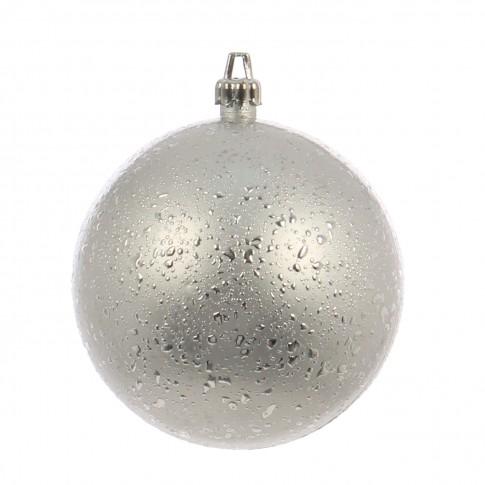 Globuri Craciun, argintiu, D 10 cm, set 2 bucati, Rugiada