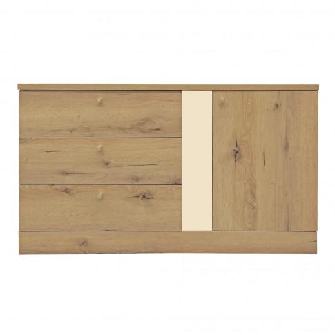 Comoda Horatiu cu 3 sertare, stejar A458 + crem lucios, 120 x 70 x 45 cm, 3C