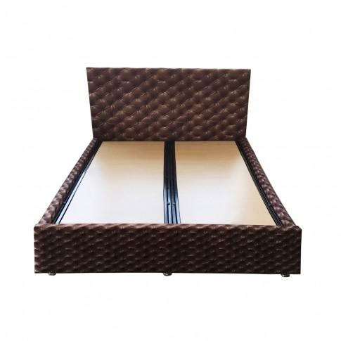Pat dormitor Premier, matrimonial, tapitat, cu lada, maro, 160 x 200 cm, 2C