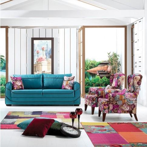 Canapea extensibila + fotolii Ibiza multicolor 3C