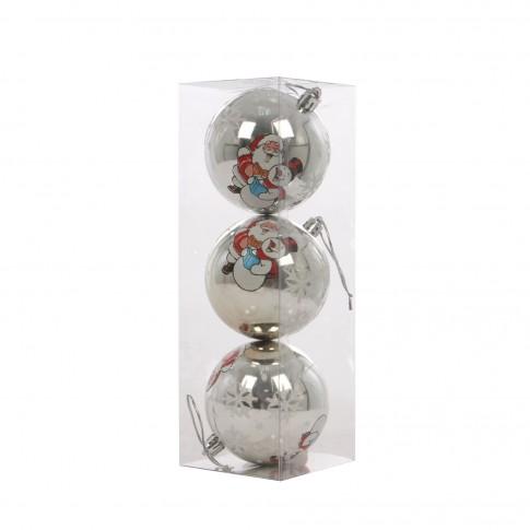 Globuri Craciun, argintii, D 8 cm, set 3 bucati, SY17DGZ-128