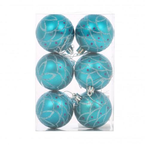 Globuri Craciun, albastre, D 6 cm, set 6 bucati, SY17DGZ-151