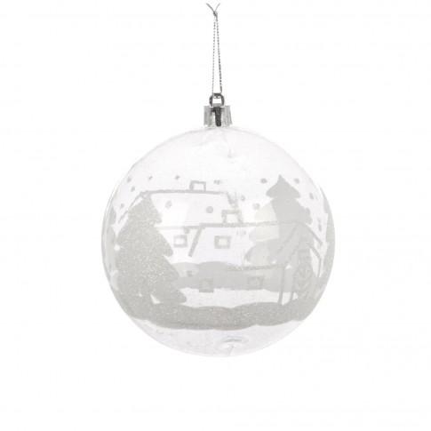 Globuri Craciun, albe, D 10 cm, set 2 bucati, SY17DGZ-167