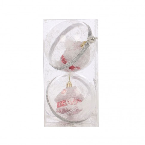 Globuri Craciun, albe, D 10 cm, set 2 bucati, SY17DGZ-248