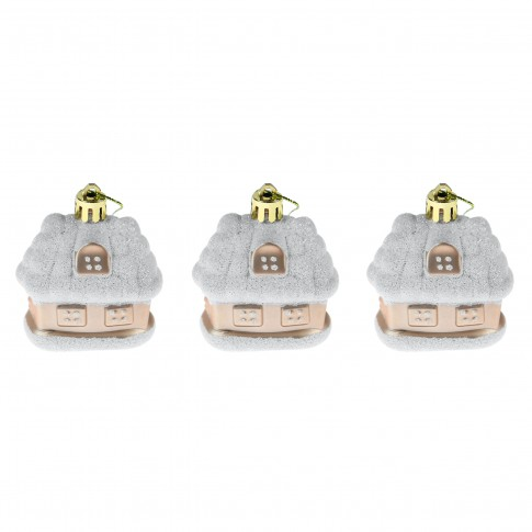 Globuri Craciun, champagne, 5 x 3 x 6 cm, set 3 bucati, SY17DGZ-299